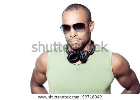 Beautiful black man on white background - stock photo
