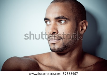 Beautiful black man portrait - stock photo
