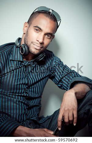 Beautiful black man posing - stock photo