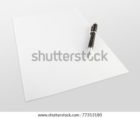 Beautiful, black pen on white paper and white background. - stock photo