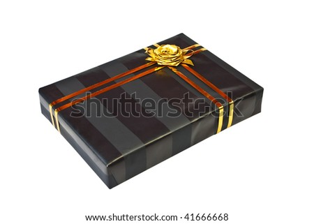 Beautiful black present gift box with gold ribbon