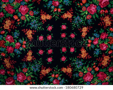 Beautiful black shawl with large flowers. background - stock photo
