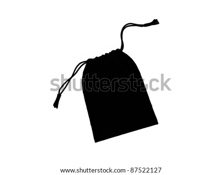 Beautiful Black Velvet Pouch to hold Jewelry and Delicate items isolated on White Background - stock photo