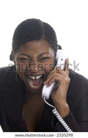 Angry Customer Service Rep On Telephone Stock Photo ...