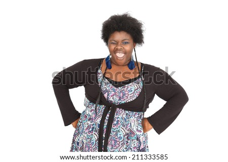 Beautiful black woman doing different expressions in different sets of clothes: - stock photo