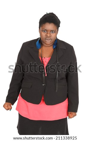 Beautiful black woman doing different expressions in different sets of clothes: angry - stock photo