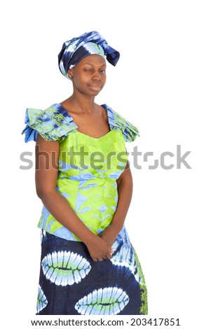 Beautiful black woman doing different expressions in different sets of clothes: blinking or winking - stock photo
