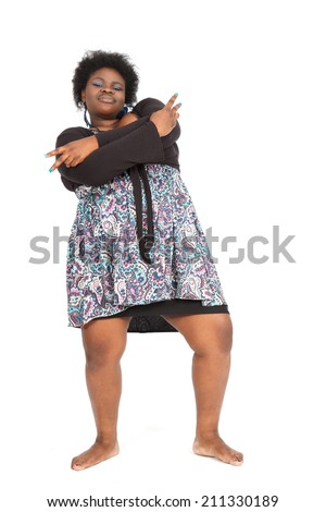 Beautiful black woman doing different expressions in different sets of clothes: dancing