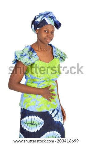 Beautiful black woman doing different expressions in different sets of clothes: hungry - stock photo
