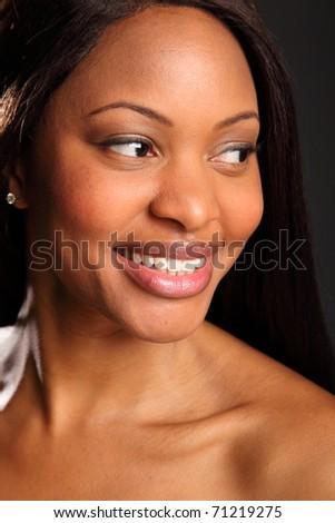 Beautiful black woman portrait happy smile - stock photo