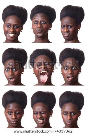 Beautiful Black Woman Portrait, Multiple Image - stock photo