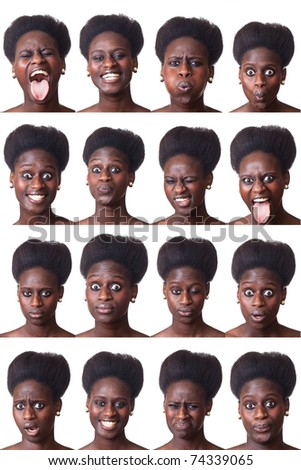 Beautiful Black Woman Portrait, Multiple Image - stock photo
