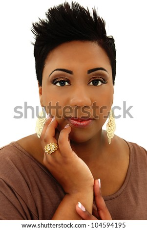 Beautiful Black Woman with Spiked Hair and Manicure Over White Background - stock photo