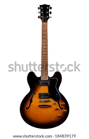 Beautiful Black-Yellow Electric Guitar Isolated on a White Background  - stock photo