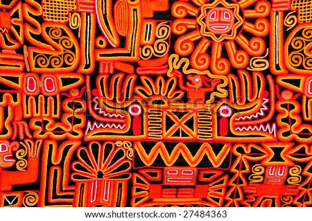 Beautiful blanket with a typical Peruvian design - stock photo