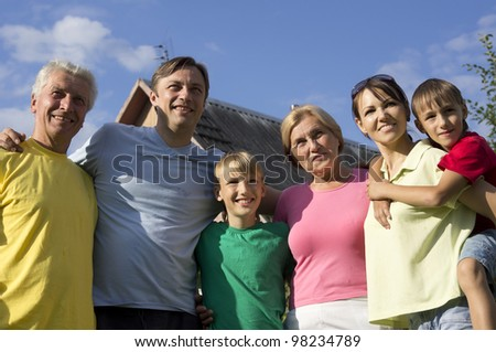 Beautiful bliss Caucasian family of six are in the nature