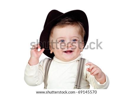 Beautiful blond baby with blue eyes isolated on white background - stock photo