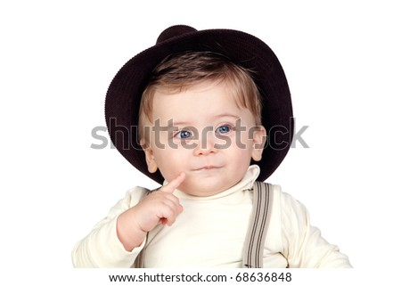Beautiful blond baby with hat isolated on white background - stock photo