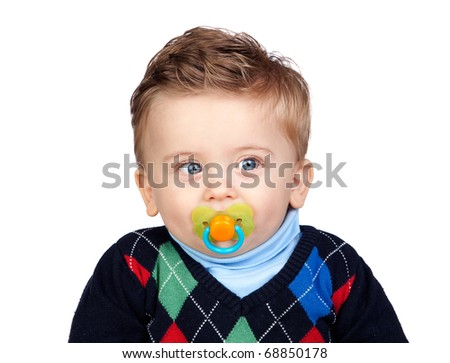Beautiful blond baby with pacifier isolated on white background - stock photo
