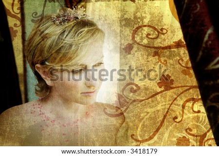 Beautiful blond bride in pink tiara looking out of window, grunge background with swirls and scrolls - stock photo