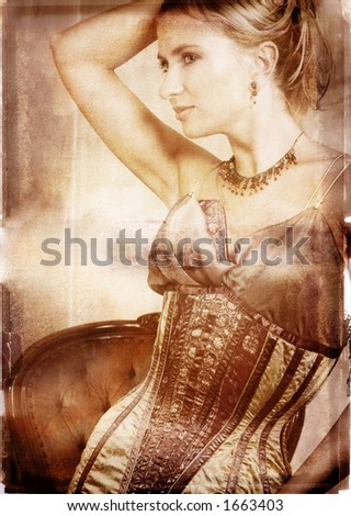 beautiful blond bride on burnt edge book page - stock photo