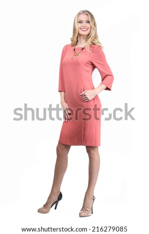 Beautiful Blond Busyness Woman Fashion Model in office pink dress
