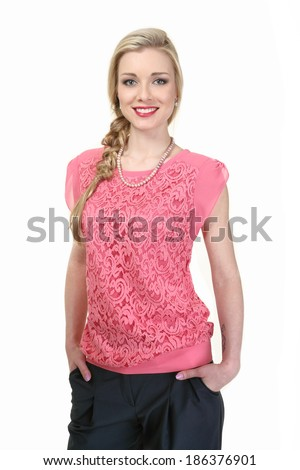 beautiful blond fashion business woman model in pink blouse isolated on white