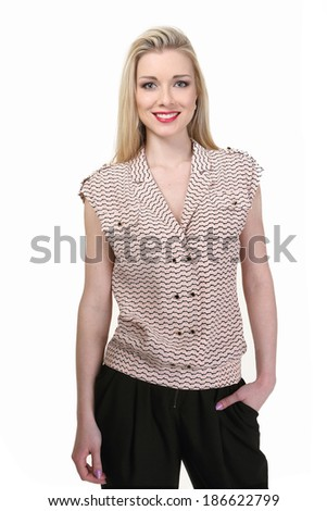 beautiful blond fashion business woman model in sleeveless blouse isolated on white