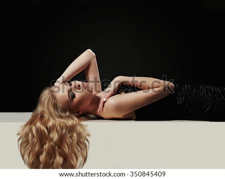 beautiful blond girl.Beauty Hair on an Attractive Woman over white board - stock photo