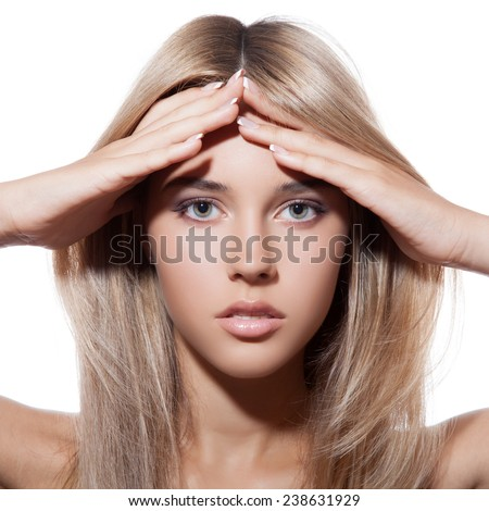 Beautiful Blond Girl. Healthy Long Hair. - stock photo