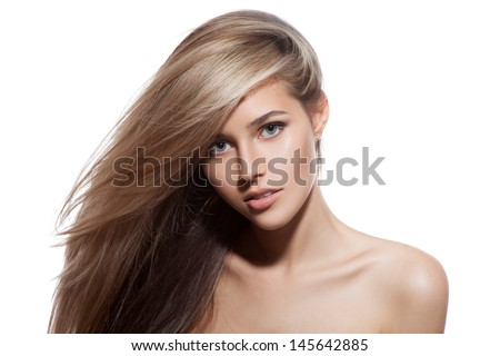 Beautiful Blond Girl. Healthy Long Hair. White Background - stock photo
