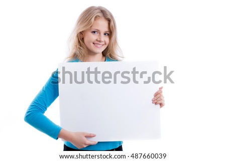 beautiful blond girl holding empty white board, on white background, isolated