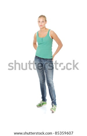 Beautiful blond girl in casual clothes. Isolated on white background.