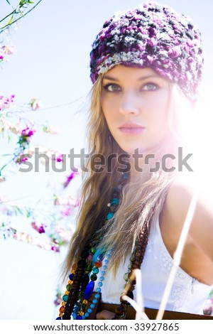 beautiful blond girl outdoors - stock photo