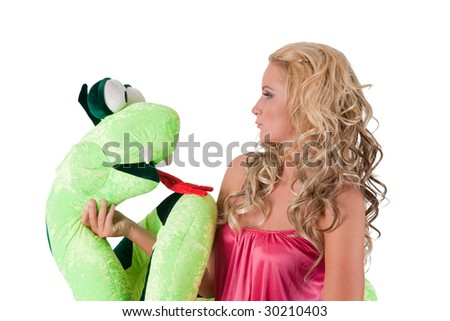 Beautiful blond girl with a toy serpent
