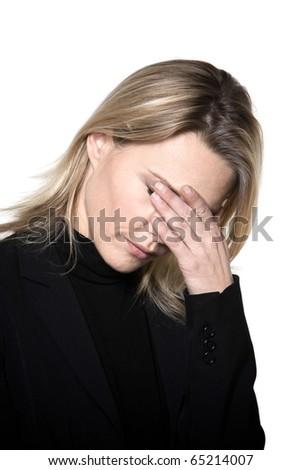 beautiful blond hair woman sad grief headache portrait on studio white isolated background - stock photo