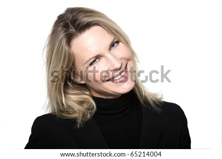 beautiful blond hair woman smiling portrait on studio white isolated background - stock photo