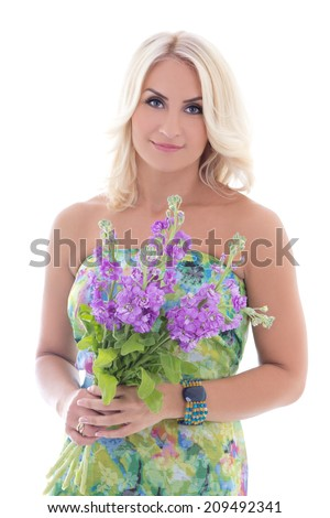 beautiful blond in dress with summer flowers isolated on white background
