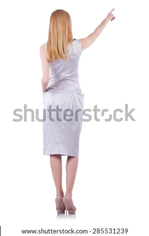 Beautiful blond in elegant dress isolated on white - stock photo