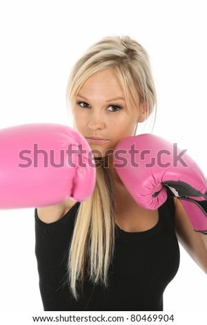 Beautiful Blond Lady Boxer - stock photo