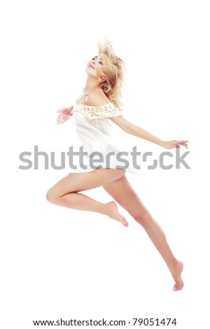 Beautiful blond lady dancing on a white background - stock photo