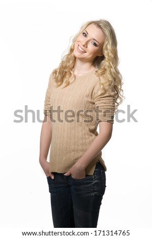 beautiful blond model girl in casual closes smiling
