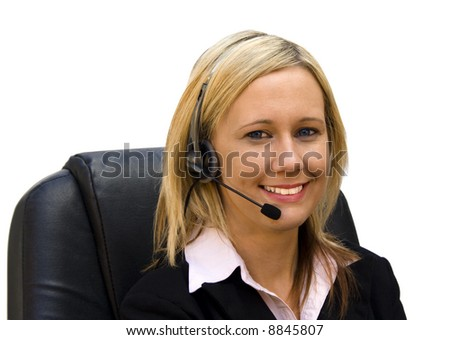 Beautiful blond receptionist on white background