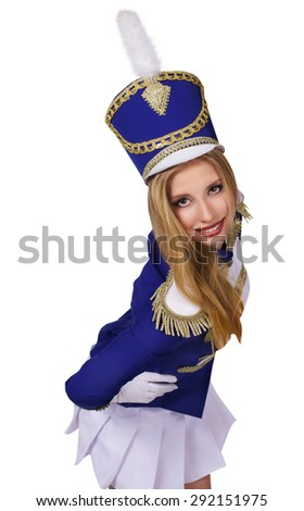 beautiful blond woman  cheerleade drummer isolated on white background  - stock photo