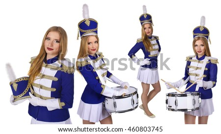 beautiful blond woman  cheerleade majorette drummer isolated on white background
