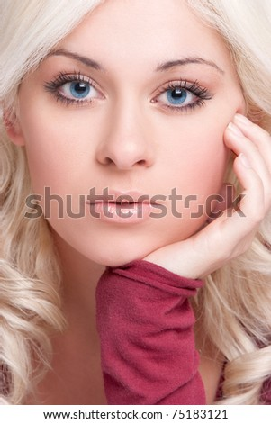 Beautiful blond woman closeup portrait