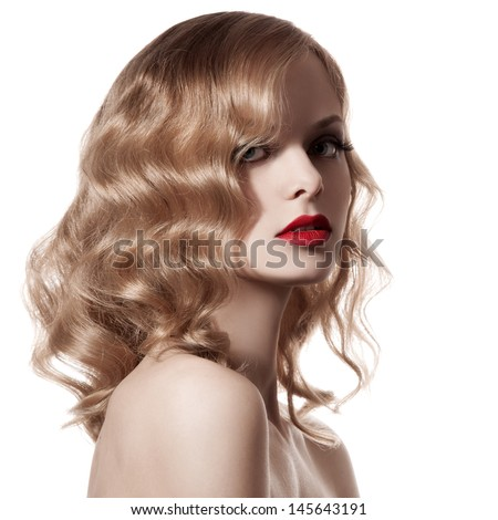 Beautiful Blond Woman. Curly Hair. White Background - stock photo