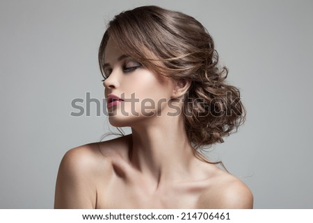 Beautiful Blond Woman. Hairstyle and Make-up. - stock photo