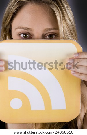 beautiful blond woman holding a rss logo