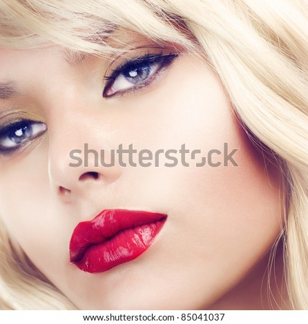 Beautiful Blond Woman Portrait close-up.Hairstyle.Makeup.Retro Style - stock photo